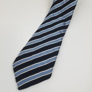 Canali Mens Silk Wool Blend Tie Striped Blue Silve
